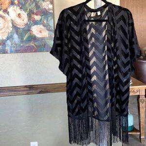 Black chevron kimono